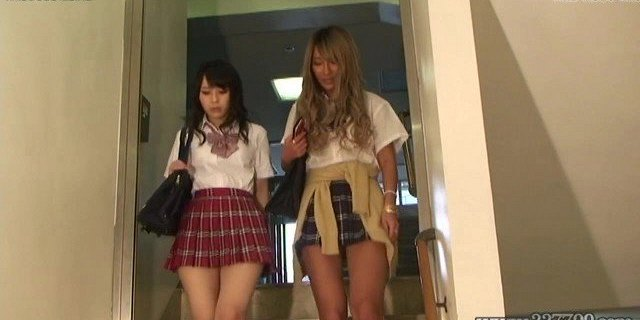 two japanese schoolgirls cfnm handjob and facesitting