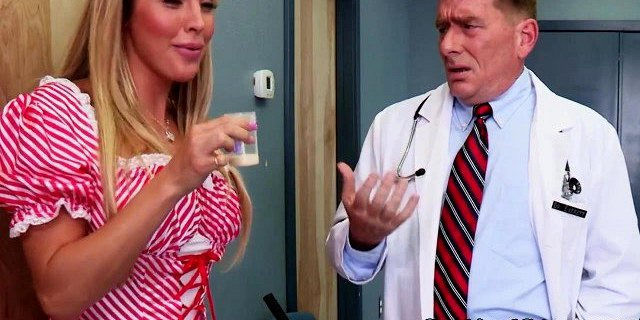 busty nurse samantha saint gets sperm sample on face