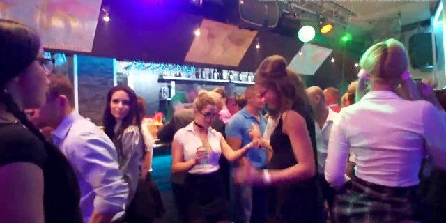 excited clubbers gets banged in public