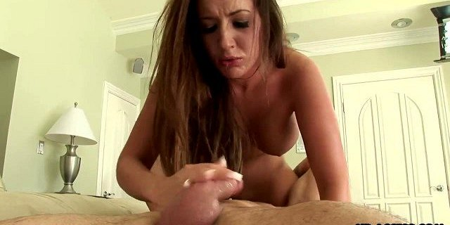 horny chick with a pair of big tits gives head