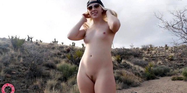 blonde samantha rone fingers pussy cums out in the desert